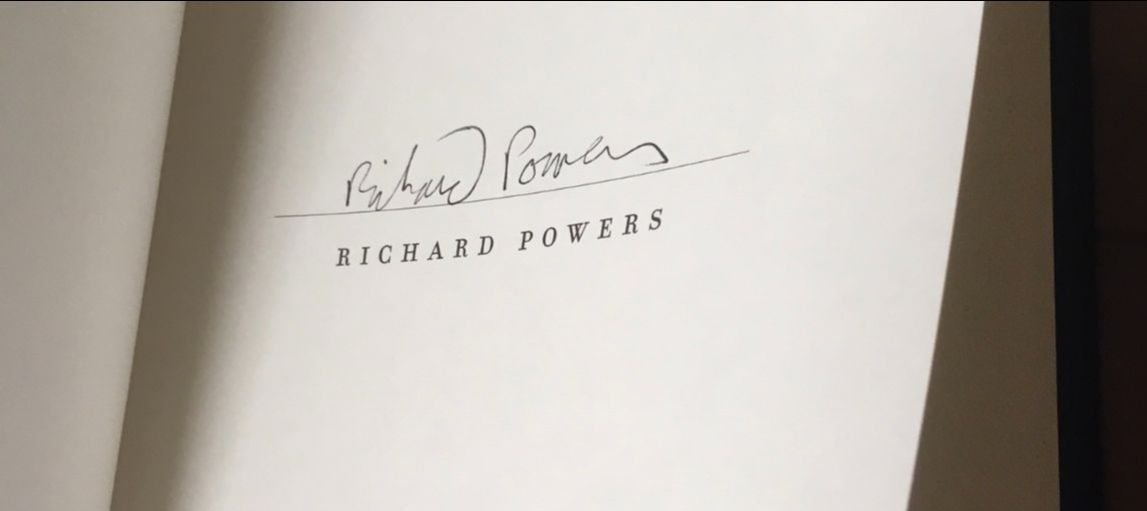 Richard Powers's signature in a specially bound edition of Bewilderment